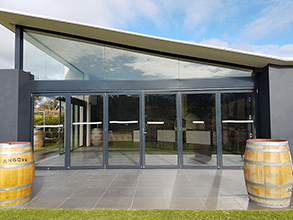 custom cut glass for Angoves winery
