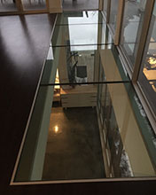 custom designed and cut glass floor