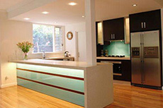 kitchen island glass splashback